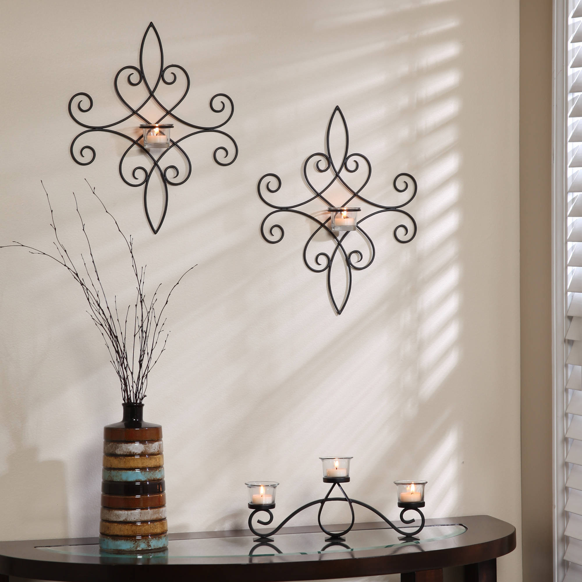 Click here to buy Better Homes and Gardens Iron Scroll Wall Sconce Tealight Holder, Set of 2.