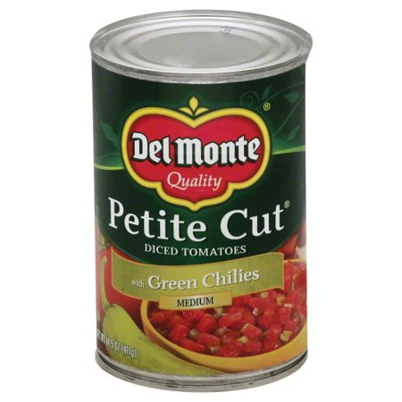 (6 Pack) Del Monte Petite Cut Medium Diced Tomatoes With Green Chilies, 14.5 -