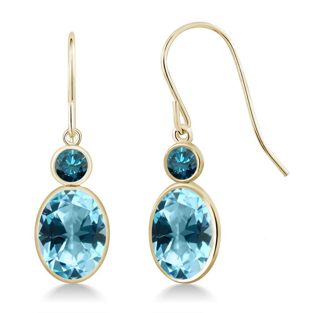 14K Yellow Gold Diamond Earrings Set with Oval Ice Blue Topaz from Swarovski by