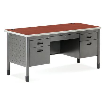 66360-CHY School Furniture Mesa Series 30 Inch x 60 Inch 5-Drawer Steel GRAY Frame CHERRY Laminate Top Teacher's (Mesa Japan)