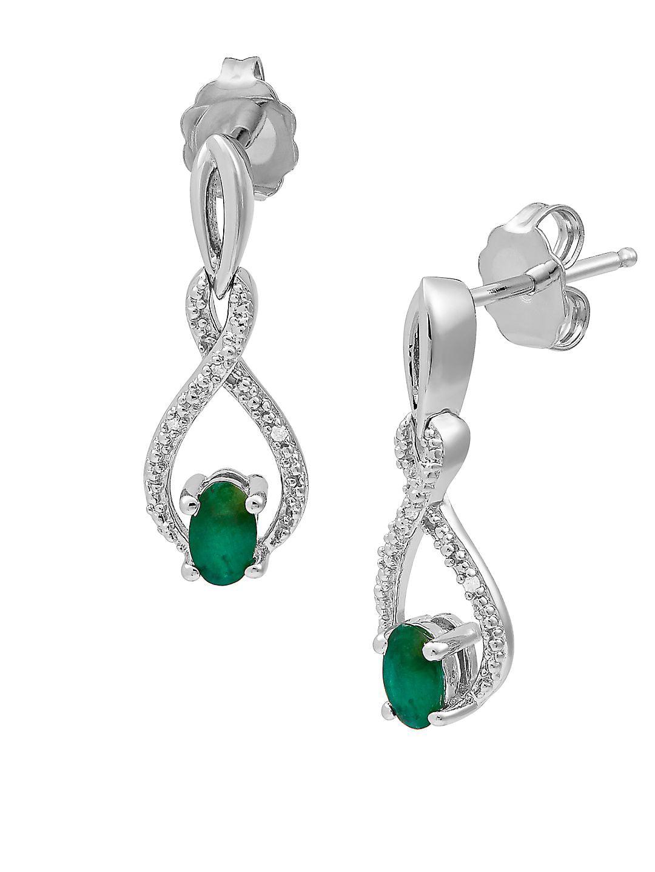 Sterling Silver, Emerald & Diamond Earrings