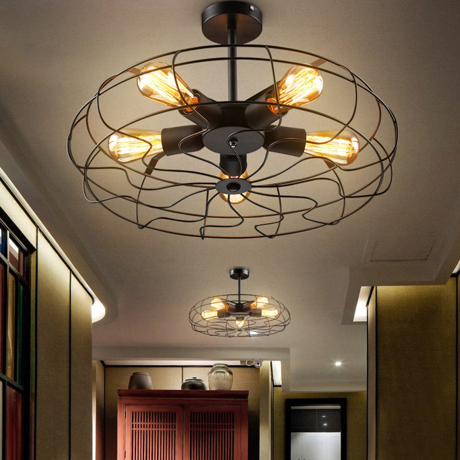Vintage Metal Hanging Ceiling Chandelier Lighting W 5 Lights Black