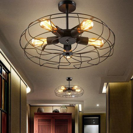 Industrial Vintage Metal Hanging Ceiling Chandelier Lighting w/ 5 ...