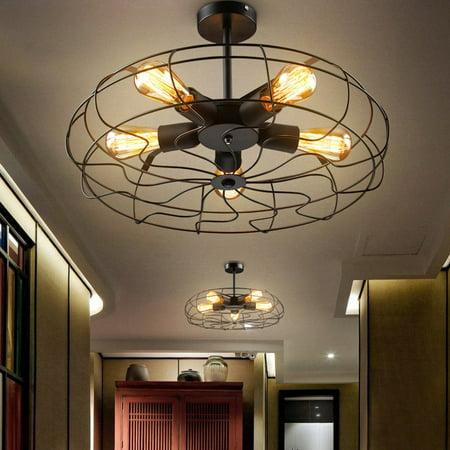 Industrial Vintage Metal Hanging Ceiling Chandelier Lighting w/ 5 Lights  -Black