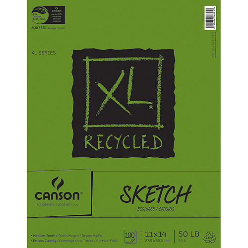 "Canson XL Recycled Sketch Book, 11""x14"", 100 Sheets"