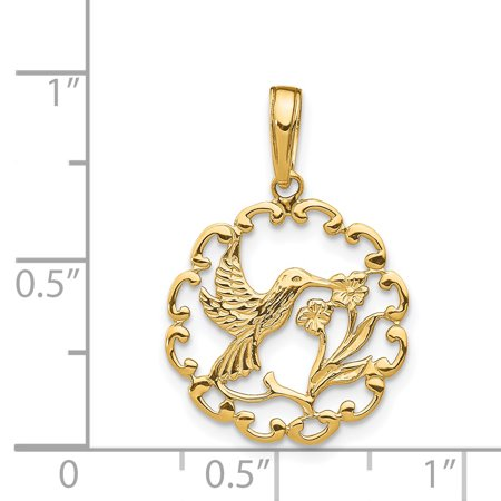 6f57e0e72 14k Yellow Gold Hummingbird Flower In Frame Pendant Charm Necklace  Gardening Bird Fine Jewelry Gifts For ...