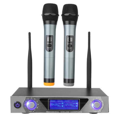 VHF Wireless Microphone System, Mini Professional Home KTV Set with Dual Channel Handheld Microphone for Conference, Karaoke, Recording, YouTube, Evening Party Computer,Speaker,CD