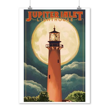 Jupiter, Florida - Jupiter Lighthouse and Moon - Lantern Press Artwork (9x12 Art Print, Wall Decor Travel Poster)