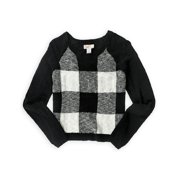 So Womens Checkerboard Knit Sweater