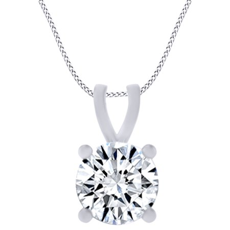 0.8 Carat (Ctw) Round Shape White Natural Diamond Solitaire Pendant Necklace In 14k Solid White Gold