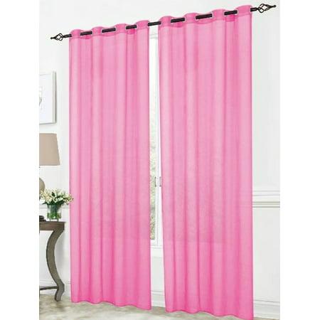 Cara Sheer Voile 54 X 84 In Grommet Curtain Panel Pink