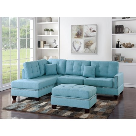 3-Piece Sectional Sofa Reversible Chaise Ottoman Blue Grey Polyfiber  Sectionals Tufted Couch Pillows Modern