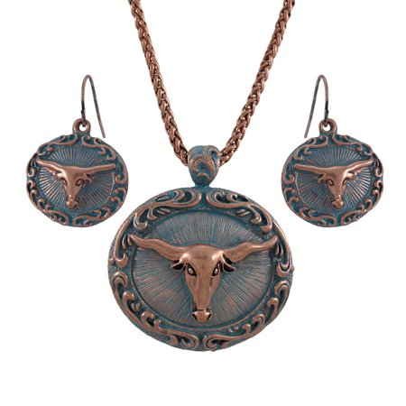 Turquoise Nugget Set - Copper and Turquoise Blue Western Longhorn Necklace and Earrings Set