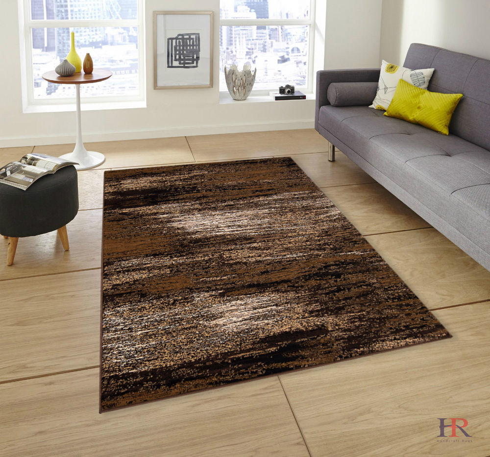 Hr Chocolate/Brown/Gold Abstract Contemporary Modern Design Mixed Colors Area Rug.
