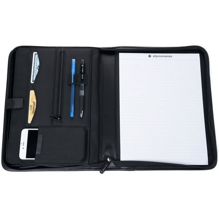 Alpine Swiss Nylon Zippered Writing Pad Business Portfolio Organizer Padfolio