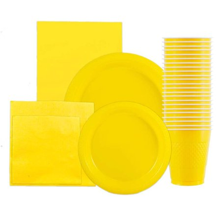 JAM Paper Party Supply Assortment Pack, Yellow, Plates (2 Sizes), Napkins (2 Sizes), Cups (1 pack) & Tablecloth (1 pack), - Yellow Party Supplies