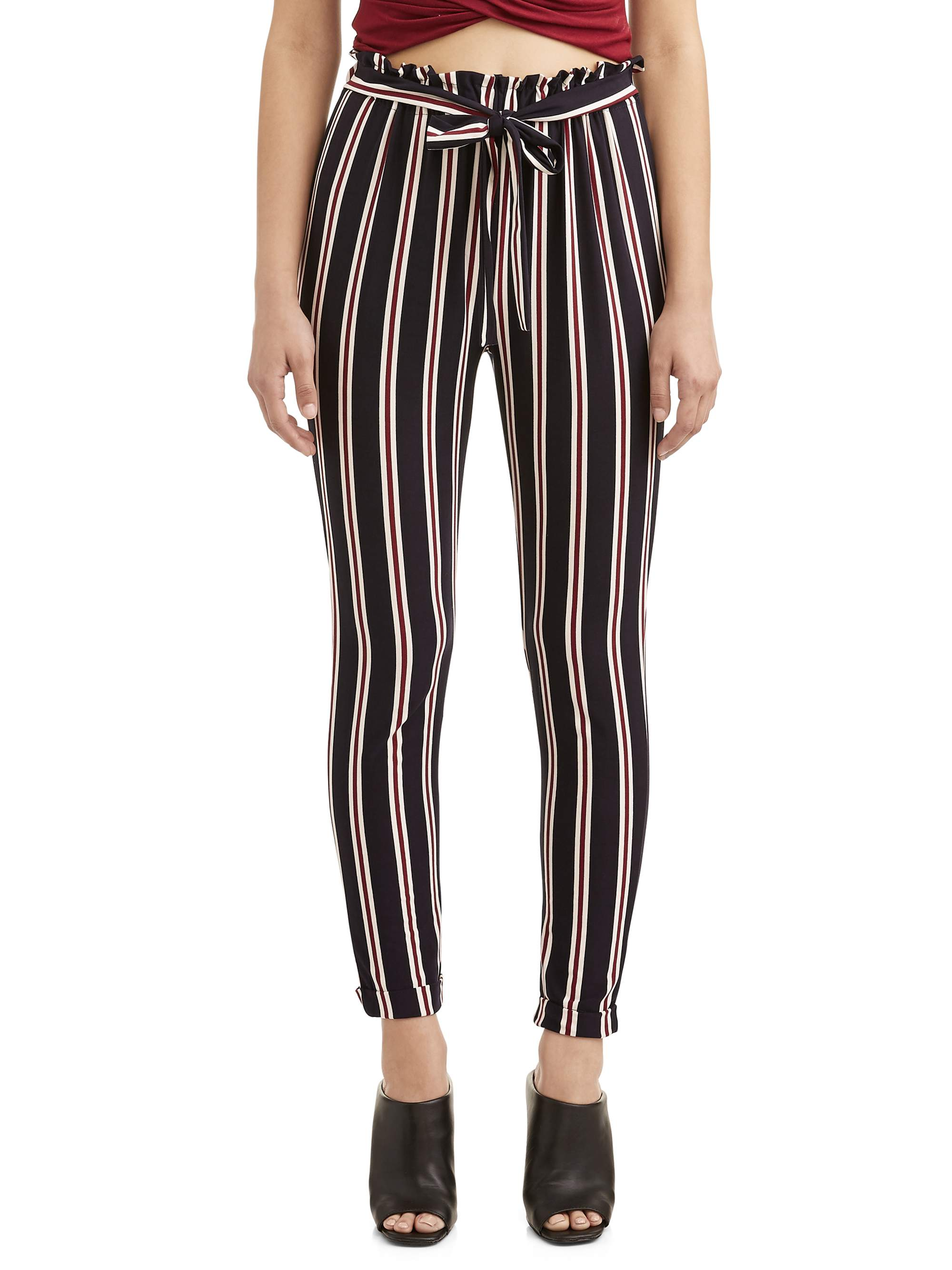 Juniors' Woven Knit Stripe Tie Front Tapered Pant