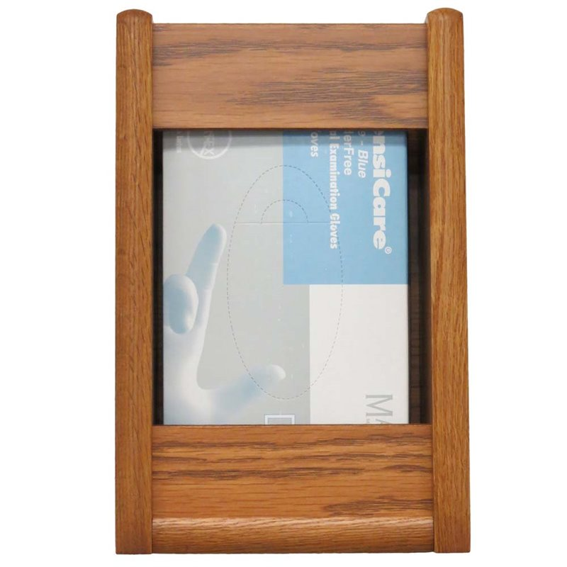 Wooden Mallet 1 Pocket Glove and Tissue Box Holder in Medium Oak