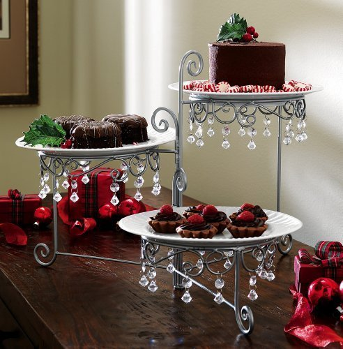 Beaded 3 Tier Silvertone Swivel Server By Collections Etc Home Supply Maintenance Store