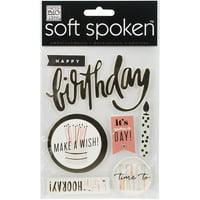 Soft Spoken Themed Embellishments, Hooray Birthday