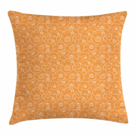 Halloween Inspired Names (Harvest Throw Pillow Cushion Cover, Pattern with Pumpkin Leaves and Swirls on Orange Backdrop Halloween Inspired, Decorative Square Accent Pillow Case, 18 X 18 Inches, Orange White, by)