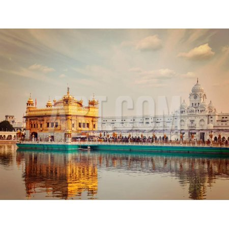 Vintage Retro Effect Filtered Hipster Style Travel Image of Sikh Gurdwara Golden Temple (Harmandir Print Wall Art By f9photos