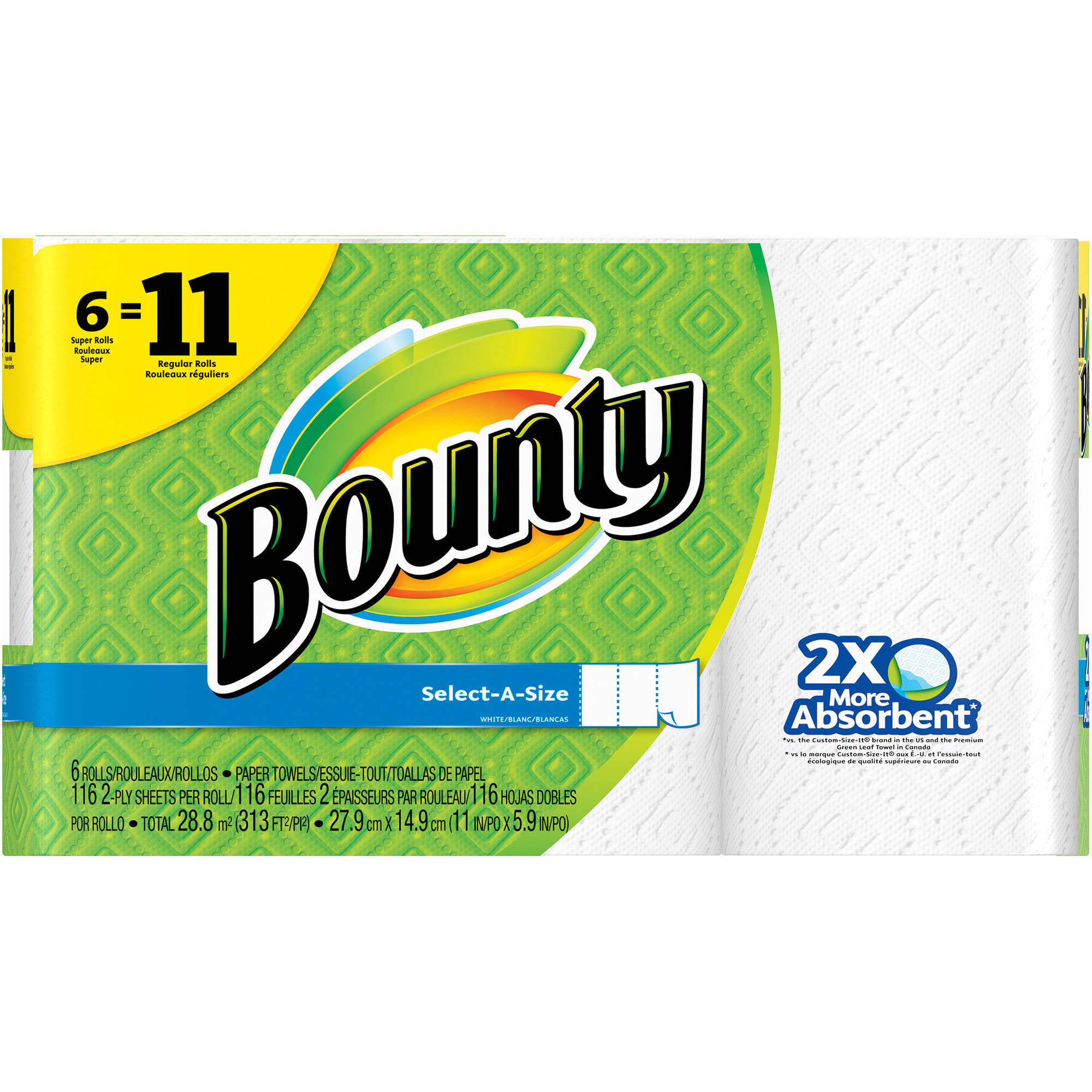 Bounty Select-a-Size Super Roll Paper Towels, 116 sheets, 6 rolls