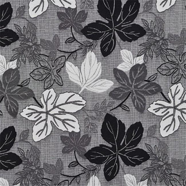 Designer Fabrics A390 54 in. Wide Contemporary Black And Silver Large Leaves Textured Metallic Upholstery Fabric