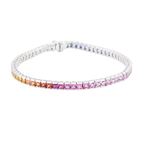 Asher Jewelry 14k white gold multi sapphire bracelet by Overstock