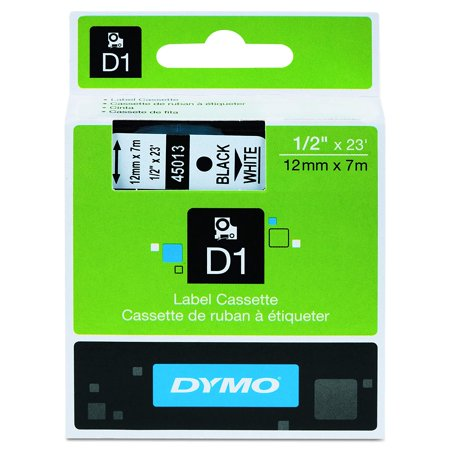 Standard D1 45013 Labeling Tape ( Black Print on White Tape , 1/2'' W x 23' L , 1 Cartridge), Authentic, High quality label maker tape that adheres to.., By