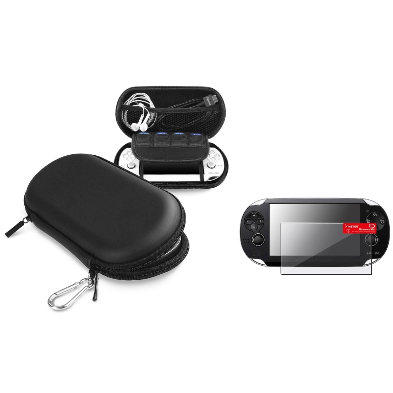 Insten Black Hard Carry EVA Case+Anti-Glare LCD Film Guard For Sony PS Vita PSV