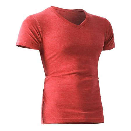 Mens V Neck Tri-blend Short Sleeve Slim Fit Casual Basic Cotton Classic Unisex T Shirt