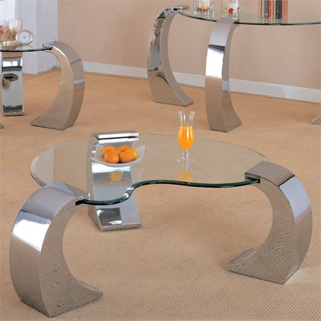 Bowery Hill Glass Top Coffee Table with Metal Base in Chrome ()