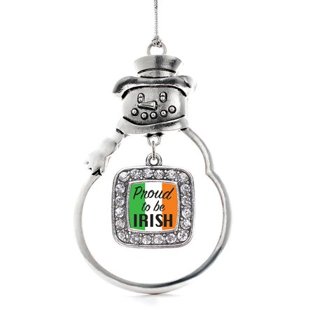 Proud to be Irish Classic Snowman Holiday Ornament