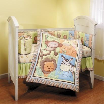 Summer Infant 4 Piece Monkey Jungle Collection Crib Set, Neutral