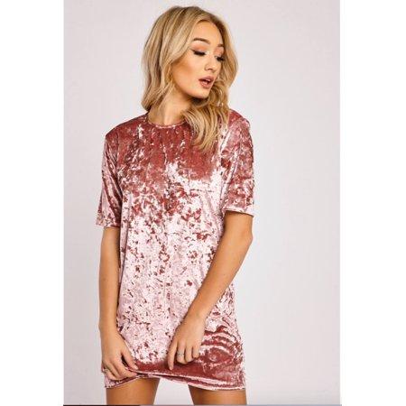 88c703a5f Feinuhan - Womens Crushed Velvet Mini Dress Short Sleeve Loose Long Tops T  Shirts Blouse - Walmart.com