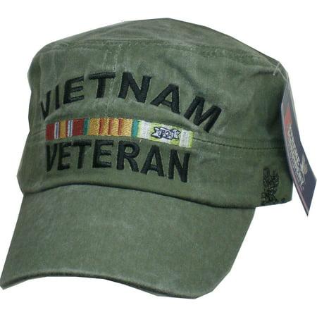 Eagle Crest Vietnam Veteran Tonal Washed Mens Flat Top Cadet Cap [Olive Drab Green - Adjustable] Division Vietnam Veteran Cap