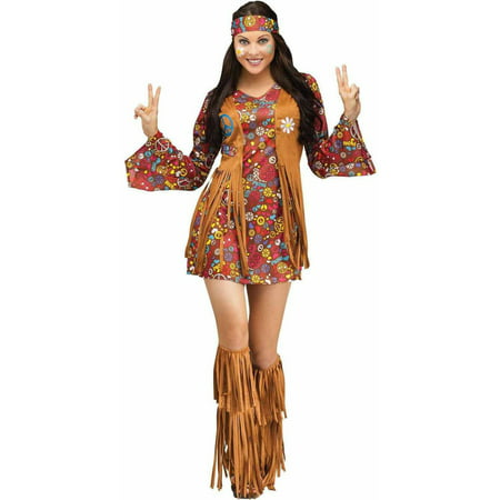 Peace and Love Hippie Women's Adult Halloween Costume - Last Minute Hippie Halloween Costume