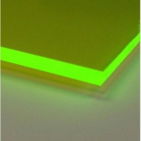 "ONE- GREEN # 9093    FLUORESCENT ACRYLIC PLASTIC SHEET 1/8""  12"" X 12"""