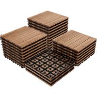 Yaheetech  Pack of 27 Fir Wood Flooring Tiles Interlocking Wood Tiles Indoor & Outdoor For Patio Garden Deck Poolside 12''x 12''Brown