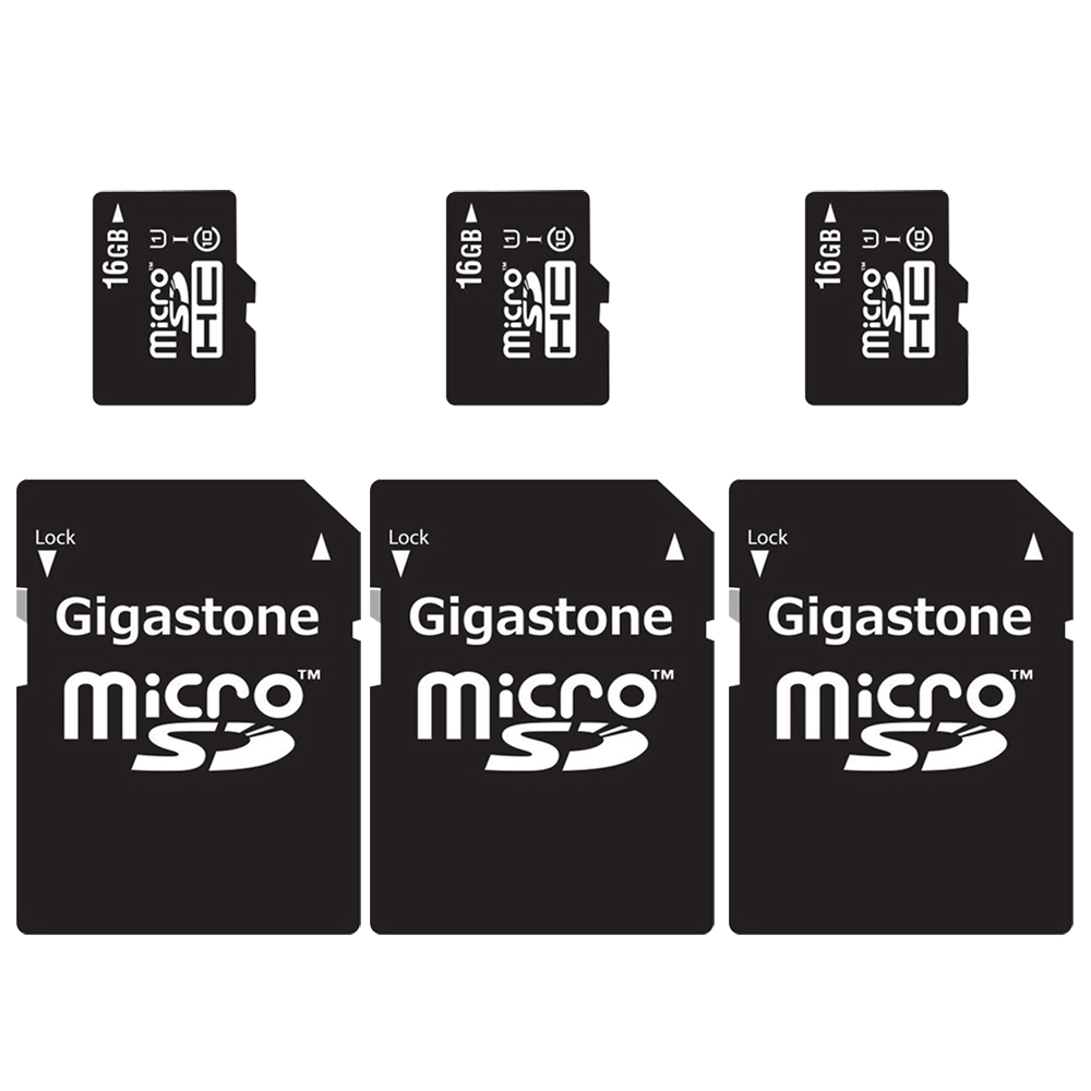 3-Packs Gigastone MicroSD HC 16GB C10 U1 With SD Adapter includes Bonus Instant Savings Coupon