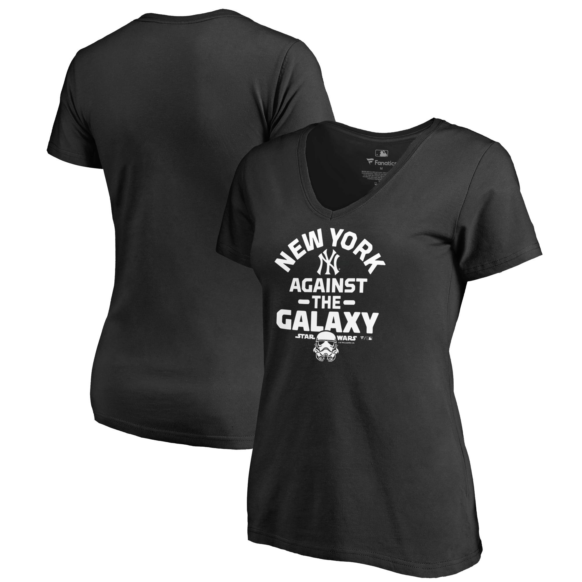 New York Yankees Fanatics Branded Women's MLB Star Wars Against The Galaxy V-Neck T-Shirt - Black