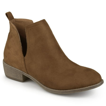 Brinley Co. Women's Wide Width Faux Suede Cut-out Round Toe Boots (Boots Wide Width)