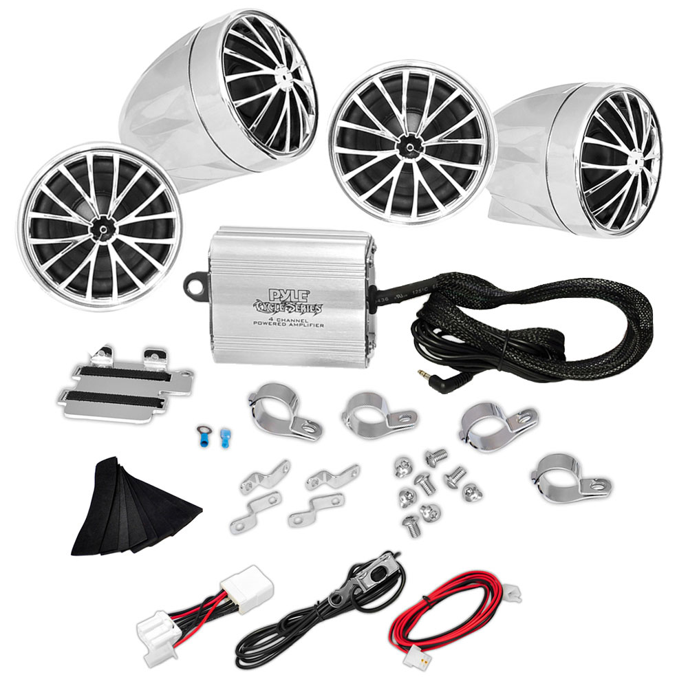 PYLE PLMCA70 - (4) Speakers - 800 Watt Weatherproof Speaker Kit for Motorcycle, ATV, Snowmobile - Includes Amplifier, Handle-Bar Mounts & iPod/MP3 Input