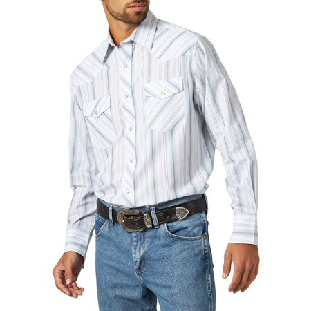 Wrangler Men's long sleeve striped western shirt (Western Show Shirts Men)