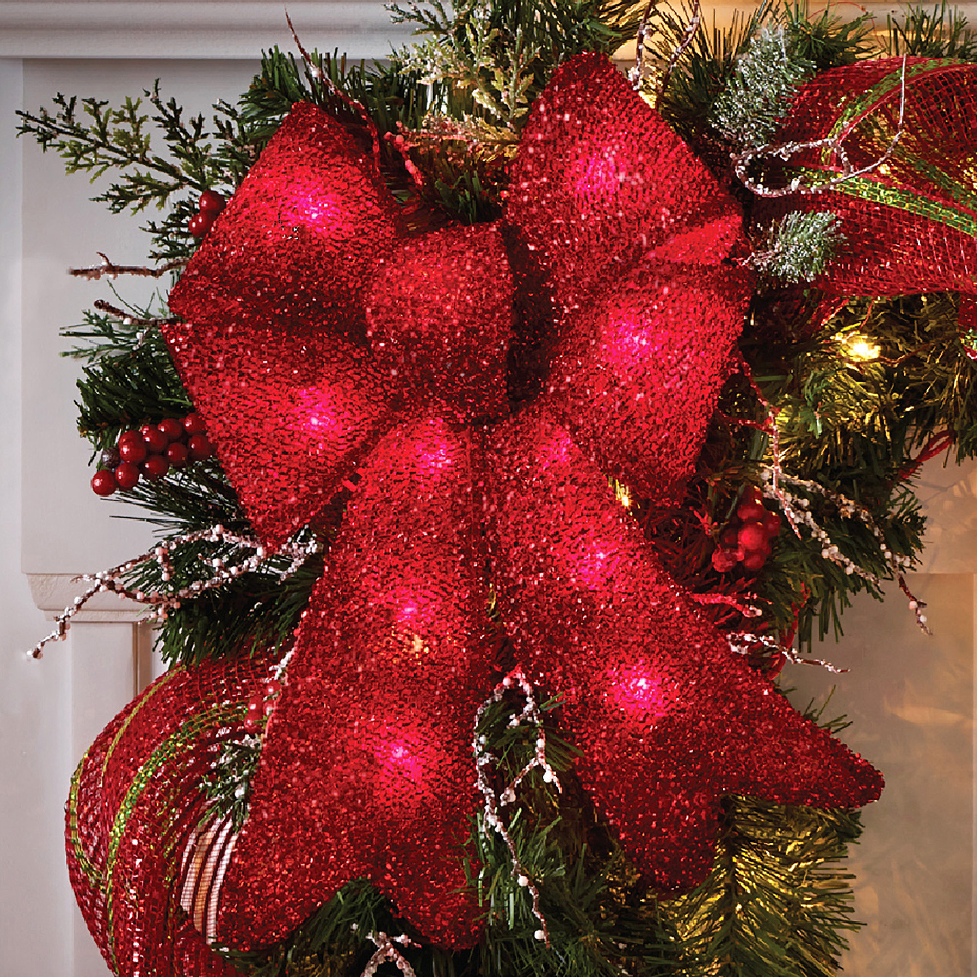 Holiday Time Christmas Decor Indoor / Outdoor Lighted Red Tinsel Bows, 2 Pack