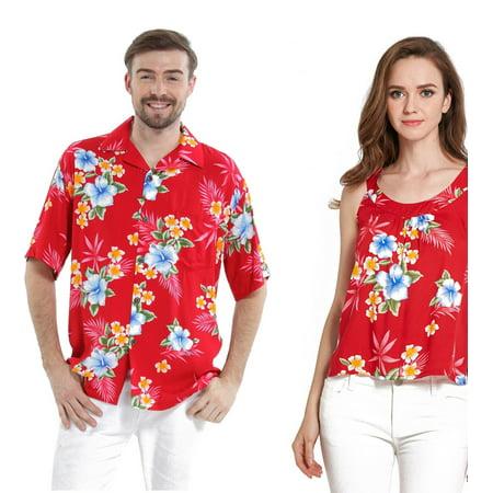 (Couple Matching Hawaiian Luau Outfit Aloha Shirt and Tank Top in Hibiscus Red Men 3XL Women 2XL)