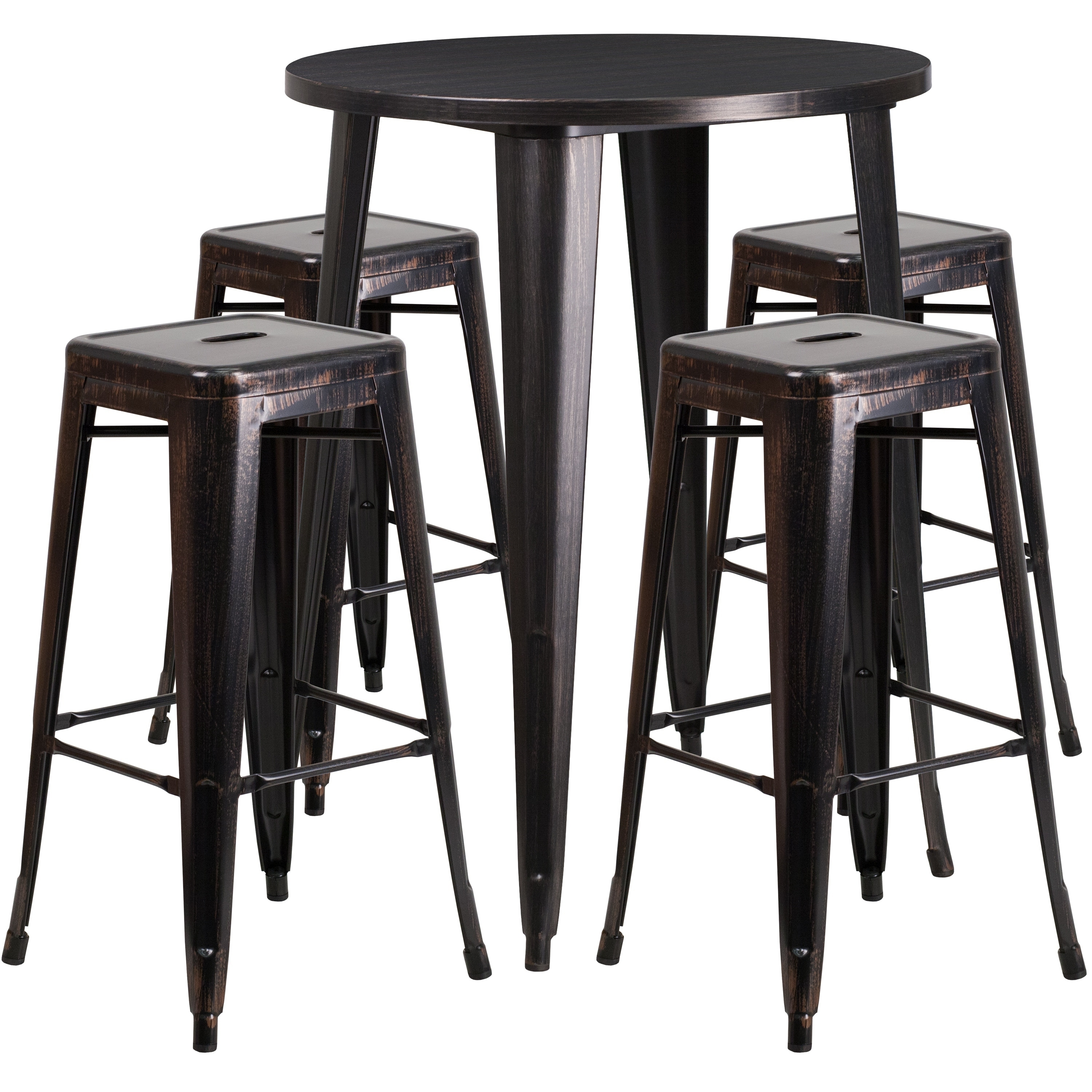 Lancaster Home 30'' Round Metal Indoor-Outdoor Bar Table Set with 4 Square Seat Backless Stools