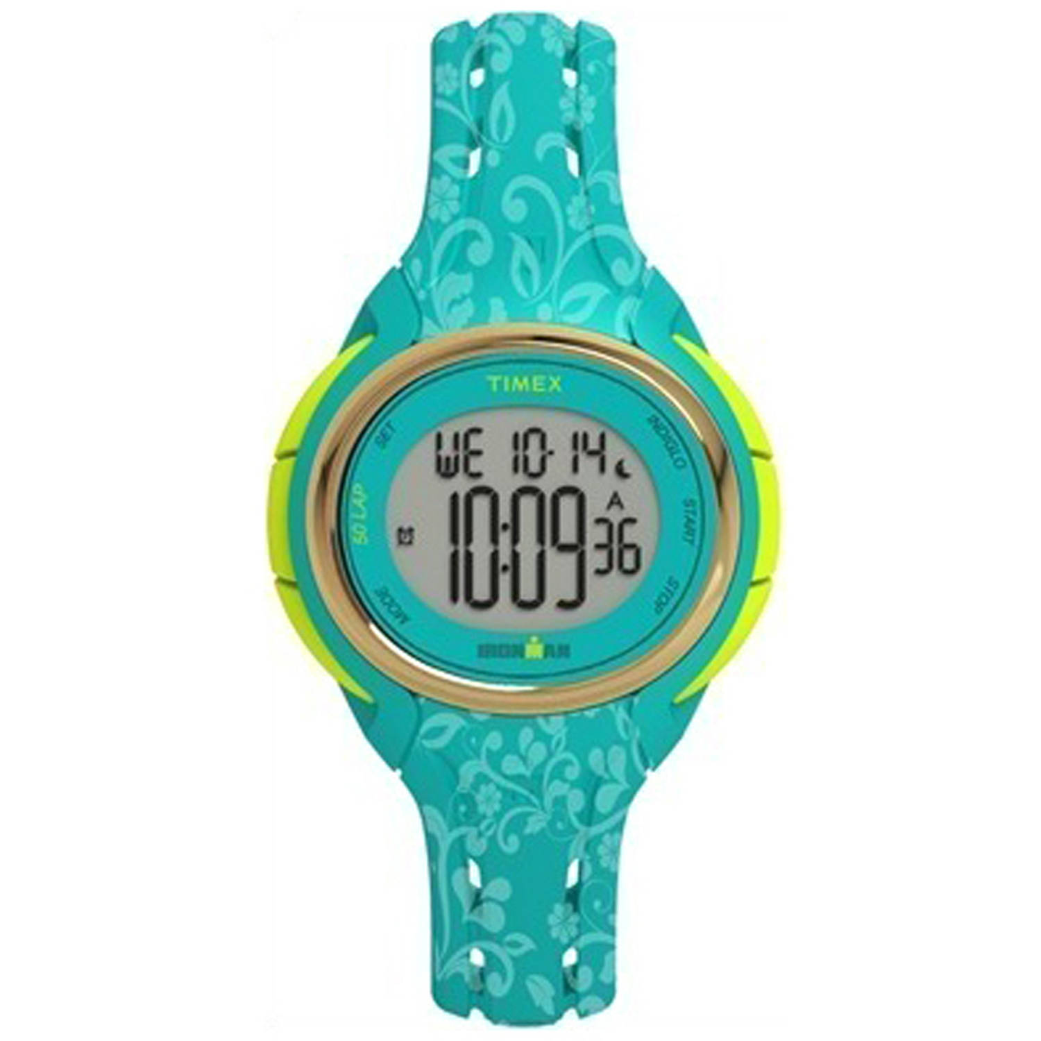 Timex Women's Ironman Sleek 50 Floral Mid-Size Watch, Blue Resin Strap