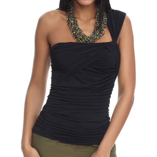 Miss Tina Women's One Shoulder Draped Top